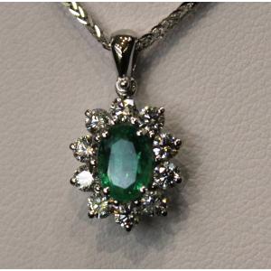 Girocollo in oro con smeraldo e diamanti